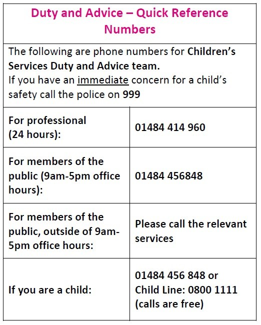 Kirklees Safeguarding contacts